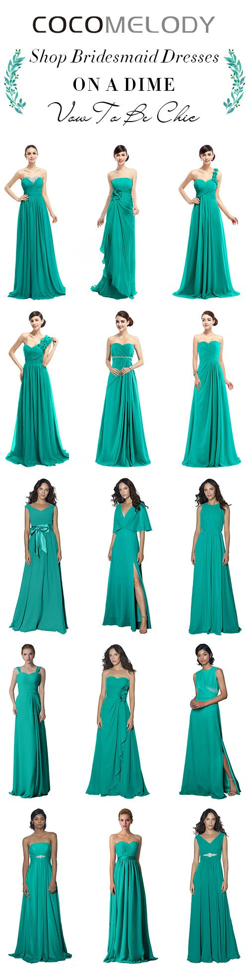 Flattering Your Maids On A Budget. All Sizes And More Styles To Choose.  #wedding #bridesmaids #bridesmaiddresses #cocomelody #customdresses #greendresses