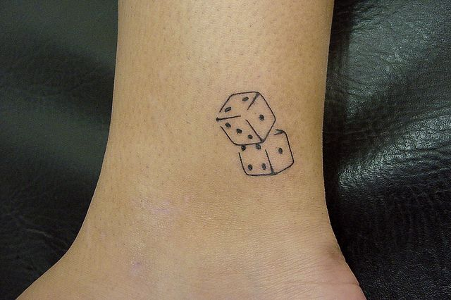 cute and tiny dice tattoo...irresponsible tattoo w/ BFF?