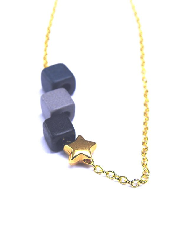 CERAMIC CUBE & STAR NECKLACE