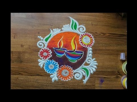 Quick and Easy colourful Diya and flowers Rangoli Design for Diwali - YouTube