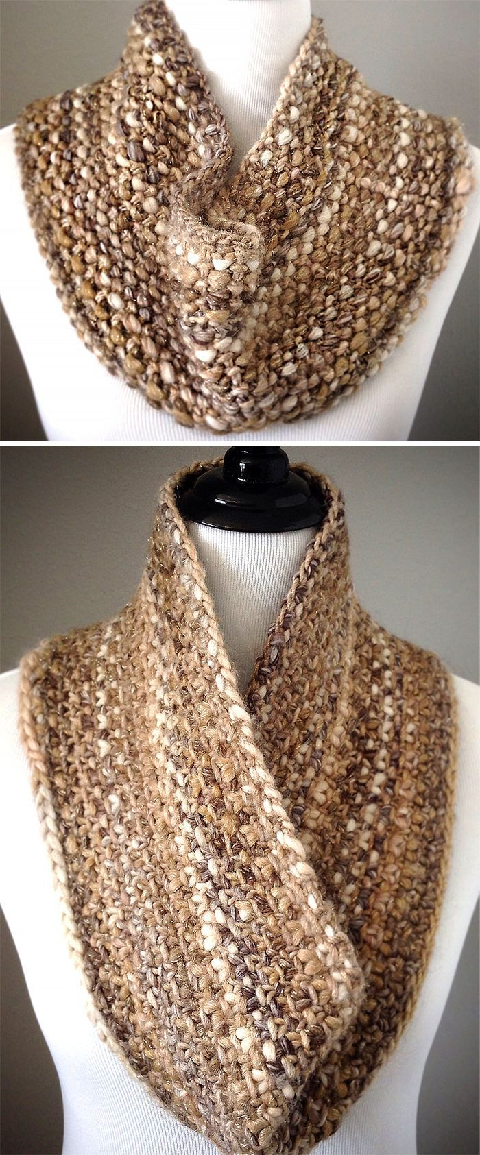 Free Knitting Pattern for Quick Slip Cowl - Reversible cowl in linen stitch gives you a different look depending on which side is visible. Quick knit in super bulky yarn. Designed by Andra Asars. Pictured project byivillarreal1997.