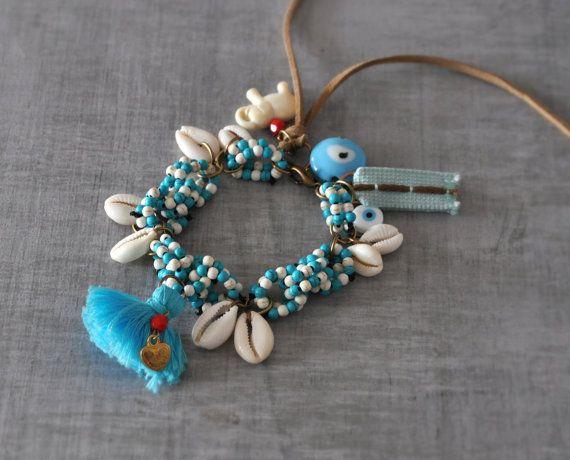 Ethnic Beaded Bracelet  Beaded Tassle Bracelet  by stellacreations