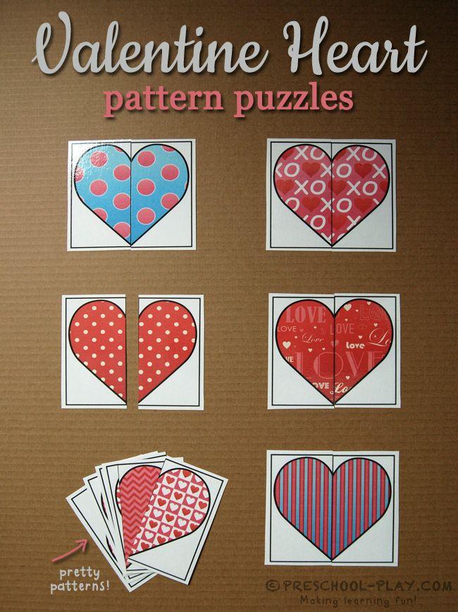 Valentine Heart Pattern Puzzles for preschool, pre-k, and kindergarten.