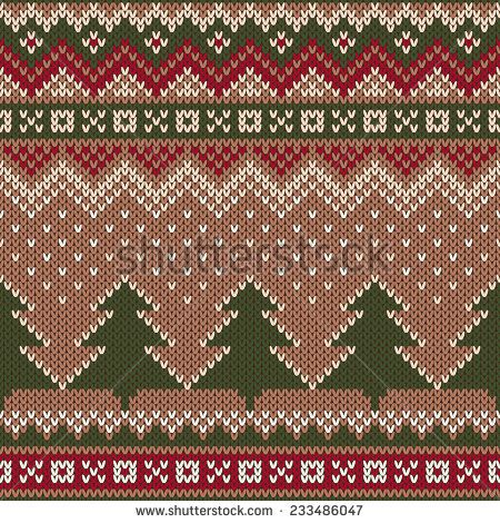 Seamless Winter Holiday Pattern on the wool knitted texture. Christmas and New Year Background - stock vector