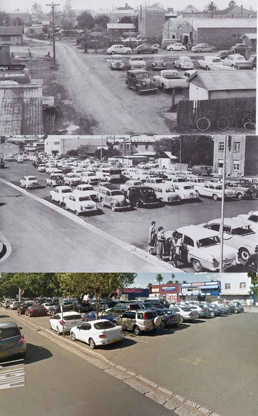 Penrith's Allen Place carpark in 1960, 1964 and 2014. [1960 and 1964 - from the book 'Penrith & St Marys Pictorial History' by Lorraine Stacker/2014 - Google Street View. By Phil Harvey]