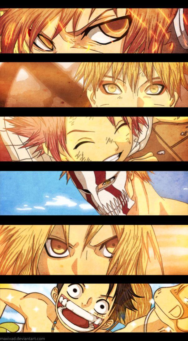 "Tsunayoshi ""Tsuna"" Sawada (Katekyo Hitman Reborn), Naruto Uzumaki (Naruto), Natsu Dragneel (Fairy Tail), Kurosaki Ichigo (Bleach), Edward Elric (Fullmetal Alchemist), Monkey D.Luffy (One Piece)"