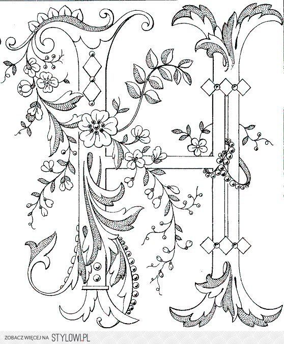 haft / rysunek / szablon / litera H / monogram / inicj…