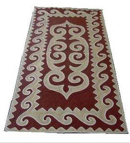 Felt rug, beige-wine, size: 1m x 1.8m http://www.shyrdak-felt-rugs.com/