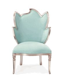 Exceptional Special Order Design: Elegant French Designer Silver Leaf Right Accent Chair  * Aqua Upholstery