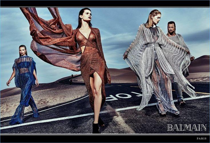 Steven Klein photographs Natasha Poly, Isabeli Fontana, Doutzen Kroes, and Gabriel Aubry for Balmain's spring-summer 2017 campaign.