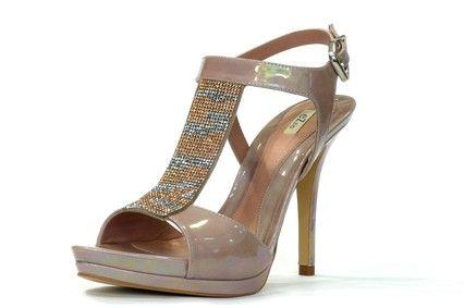 Sandalia en T vestir de la marca eZzio en piel tornasolada color lila-maquillaje, detalle T al empeine con fantasía en plata y cobre, doble plataforma, tacón alto