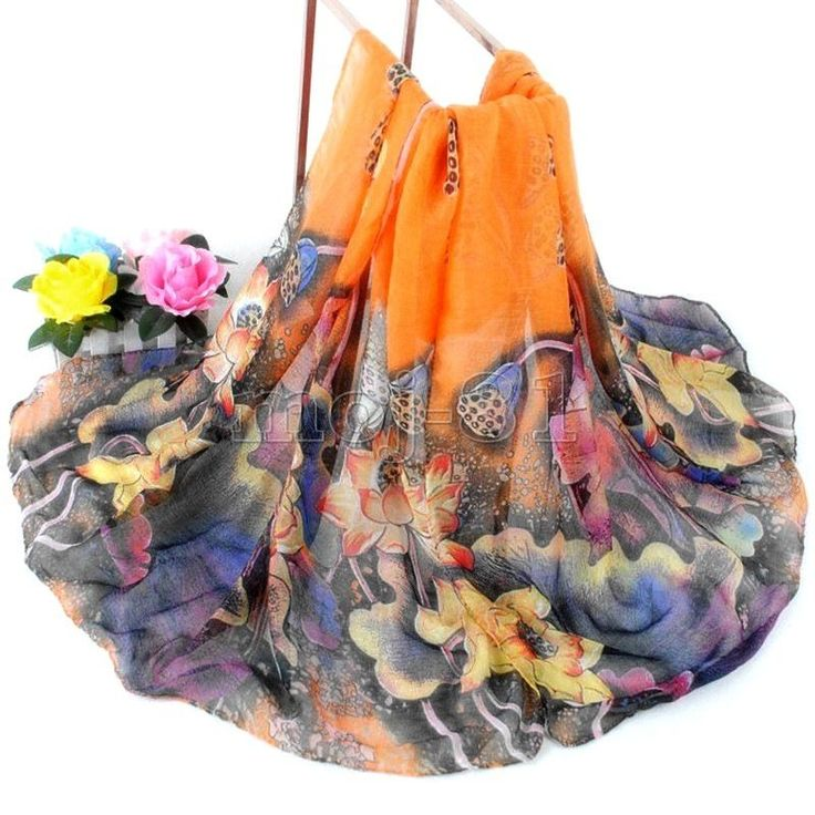 Women's Fashion Orange Cotton Long Wrap Shawl Beach Scarf Lotus Flowers