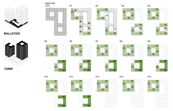Villaggio Expo 2015 - UP! + Teknoarch  Expo Village 2015 - Social Housing Schema delle piante - Floor plans - Cascina Merlata