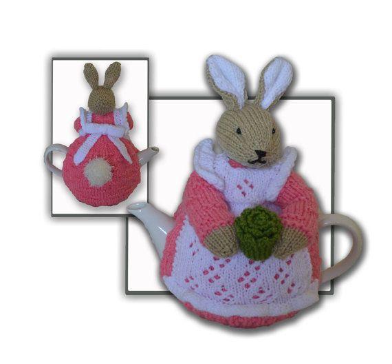 Beatrix Flufftail Bunny Rabbit Tea Cosy.  Pattern at https://www.etsy.com/listing/453354190/beatrix-flufftail-bunny-rabbit-tea-cosy