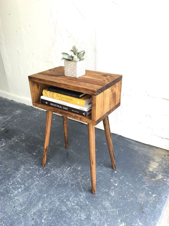 Mid century modern  inspired end table in by GroveAndAnchor