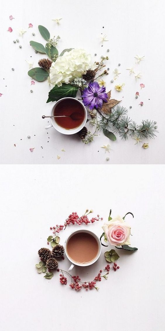 The French Bedroom Company Blog | How To: Make Your Home Insta-Worthy. Get your home instagram ready with our top tips and ideas. Flowers and tea flat lay with black tea, roses and purple flowers