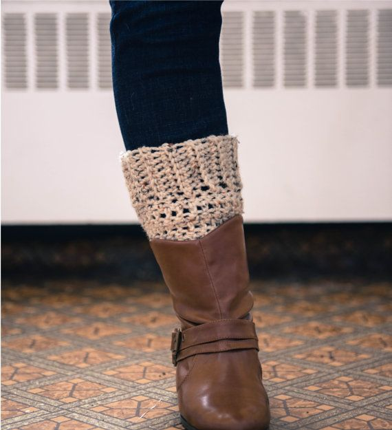 Oatmeal Beige Boot Cuffs/topper crocheted by FolkloreFibres, $12.00