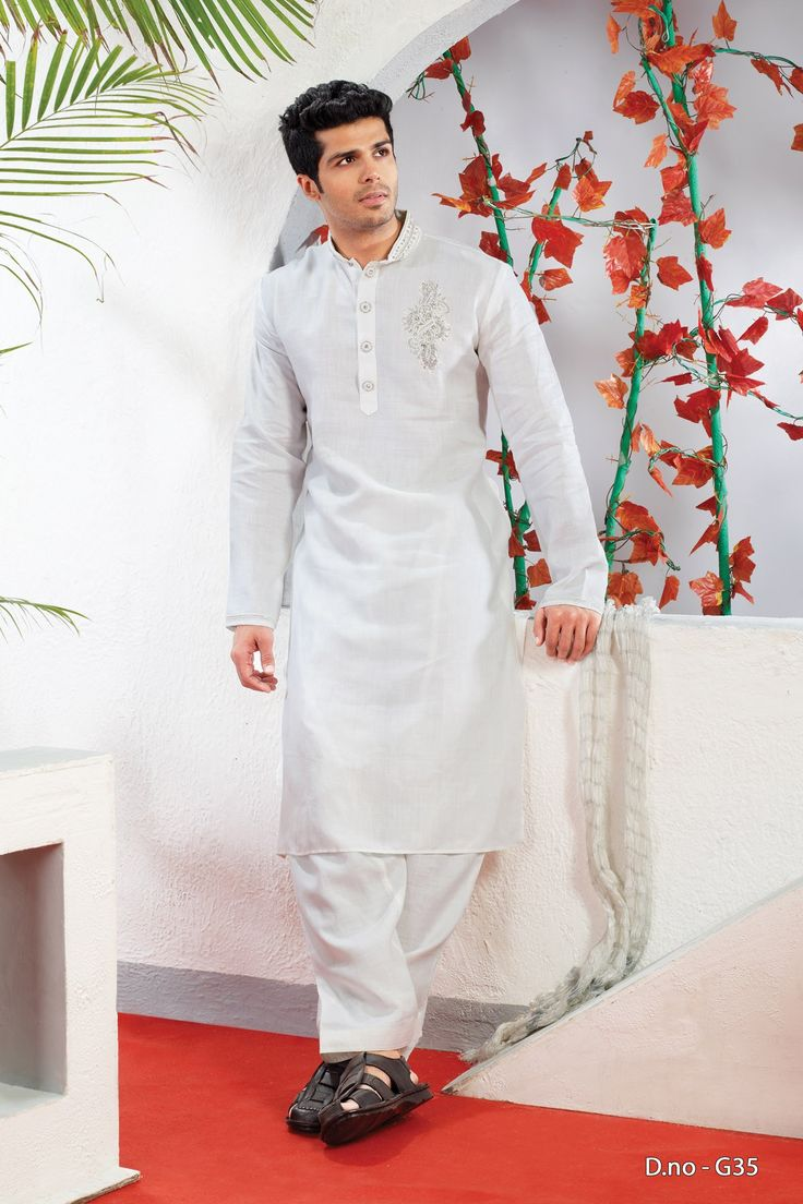 White Remi Linen Readymade Kurta Pajama  http://www.silk-india.com/en/82-kurta-pajama 69.99$  Now, place your Order now : Email:- raksha@silk-india.com