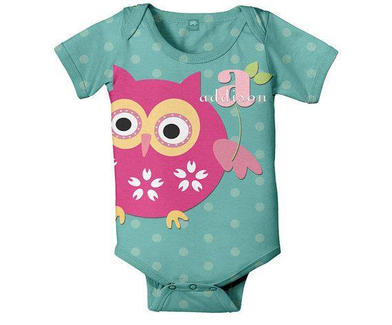 Personalized Owl Onesie  Monogram Baby Romper by SimplySublimeBaby, $24.95: Owl Baby, Babystuff, Custom Onesie, Baby Girls, Personalized Owl, Owl Onesie, Owls, Baby Rompers, Baby Stuff