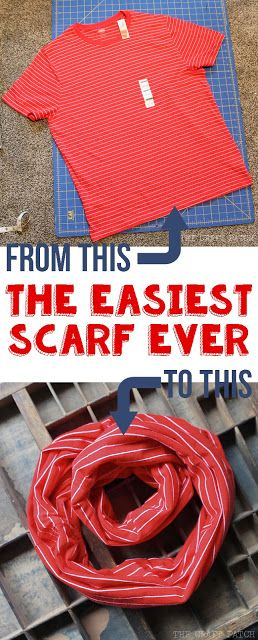This no-sew scarf takes less than five minutes to make! Great way to repurpose a t-shirt!