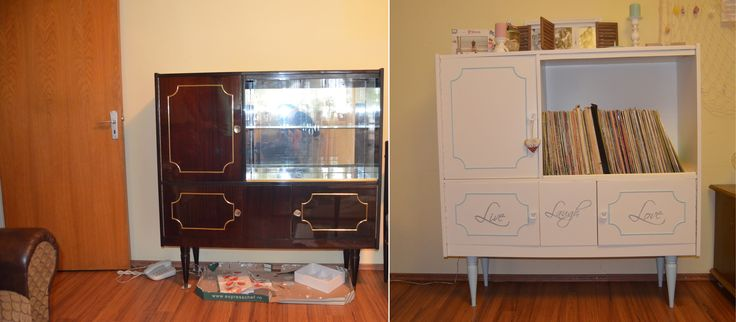 Old living room furniture repainted - Before and after
