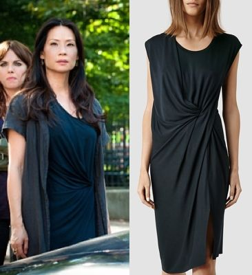 "Elementary season 3, episode 2, ""Five Orange Pipz"" fashion: Click to find out where Joan Watson (Lucy Liu) got her black, ruched and draped dress #elementary #lucyliu #joanwatson"