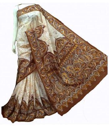 Off White Hand Batik Pure Silk Saree