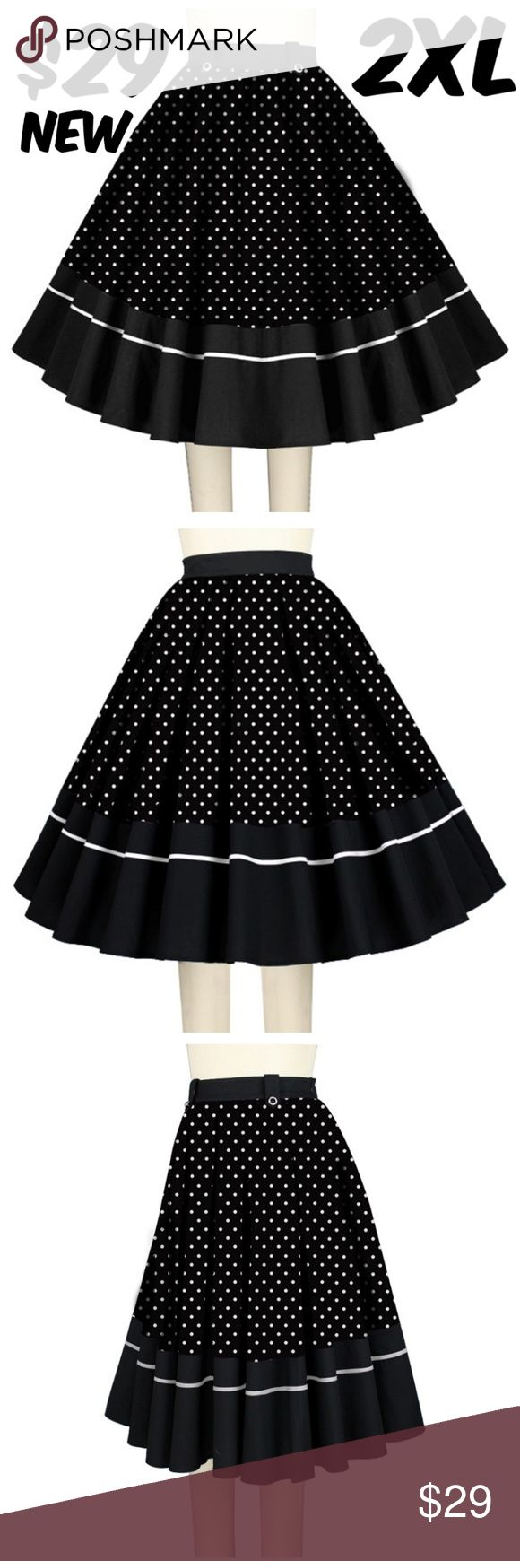 """Polka Dot Plus Size Pin Up Full Circle Skirt 1950s Polka Dot Plus Size Pin Up Full Circle Skirt 1950s WAIST: 34"""" LENGTH: 27"""" CONDITION: NEW TAG SIZE IS 44 EUROPEAN WHICH IS A US 2XL #CS Skirts A-Line or Full"""