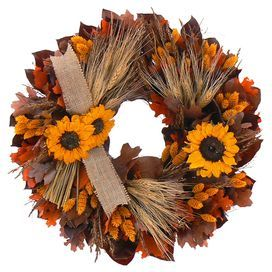 "Twig and wheat wreath with faux leaves and sunflowers and a jute ribbon.  Product: WreathConstruction Material: Preserved wheat, dried grass, polyester, twig and juteColor: MultiDimensions: 18"" Diameter x 5"" D"