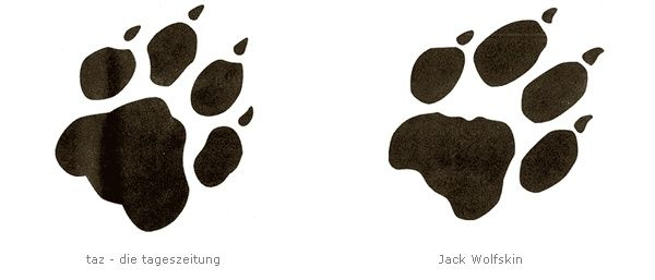 """German newspaper """"taz"""" (sounds like the german word for """"paw"""") and Jack Wolfskin"""
