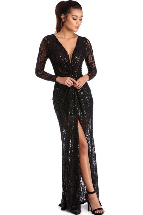 Gatsby Sparkle Celeste Black Sequin Lace Dress, $120, Windsor