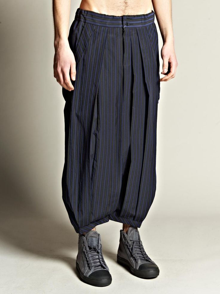 Yohji yamamoto Pour Homme Mens Cropped Drop Crotch Trousers in Blue for Men