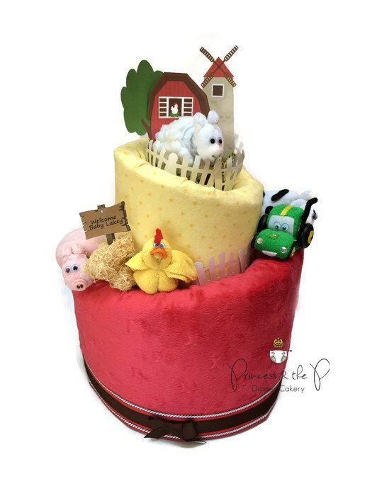 Barnyard Baby Shower, Farm Baby Shower, Topsy Turvy Diaper Cake, Centerpiece, decorations, Old MacDonald, Barnyard, birthday, farm animals by PrincessAndThePbaby on Etsy https://www.etsy.com/listing/194953204/barnyard-baby-shower-farm-baby-shower