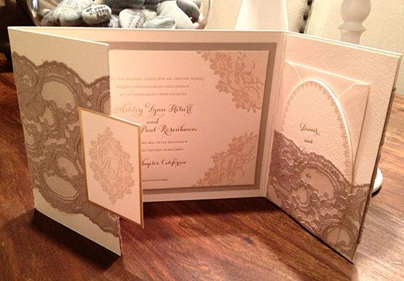 Ashley Hebert and JP Rosenbaum's invitation was created by Lehr & Black. The design featured mocha colored lace and pockets for the reply cards.