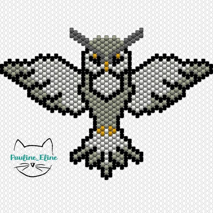 J'ai l'impression que vous avez aimé ma chouette... Alors voici le diagramme !  #jenfiledesperlesetjassume #miyukibeads #miyuki #diagrammeperles #beadpattern #pattern #motifpauline_eline #chouette #hibou #owl #woodland #oiseau #bird