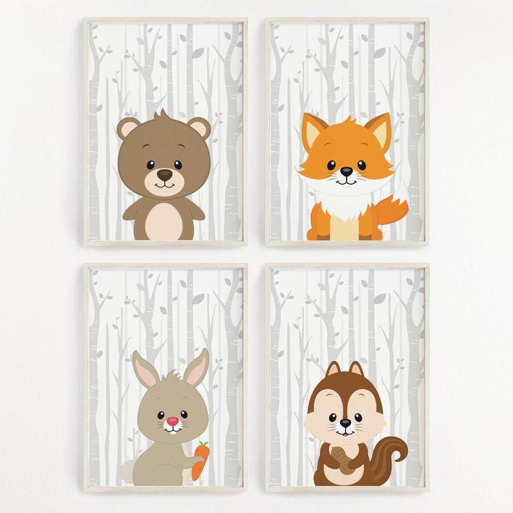 Kinderzimmer Bilder Wald Tiere Set Kunstdruck Poster Wandbild Deko Baby Geschenk | eBay  #Kinderzimmer #wandgestaltung