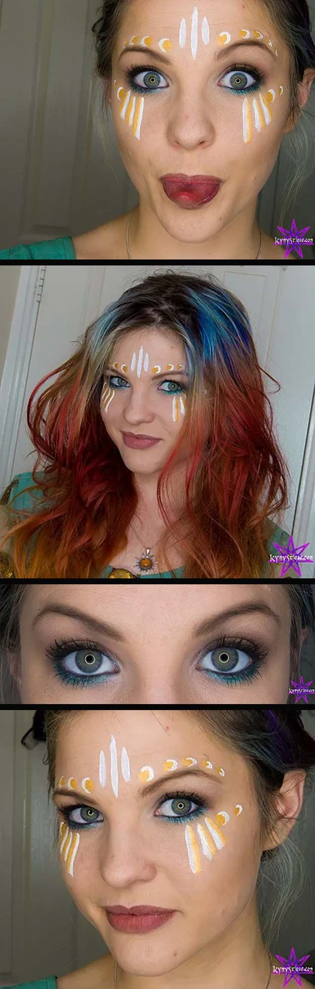 Festival Makeup Tutorials - Festival Makeup Tutorial - Awesome Glitter and Rhinestone Make Up Ideas for the Next Rave or Summer Music Festival - Awesome Tribal and Bohemian Looks For Summer Plus a Great Gold Boho Tutorial for the Next EDM Show - thegoddess.com/festival-makeup-tutorials