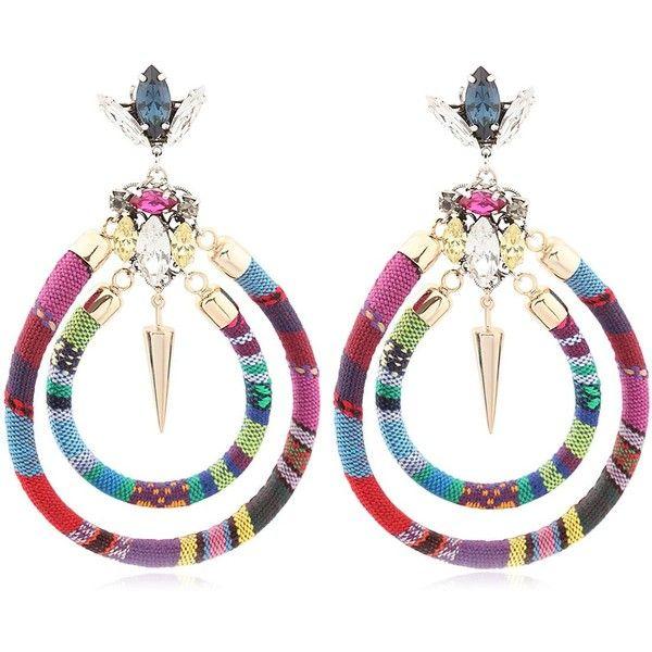ANTON HEUNIS Boho Bling Hoop Pendant Earrings ($272) ❤ liked on Polyvore featuring jewelry, earrings, multi, swarovski crystal pendant, boho chic jewelry, boho earrings, bohemian style jewelry and bohemian earrings