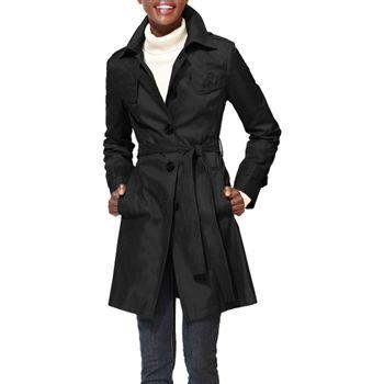 DKNY Women's Black Quilt Detail Trench Coat