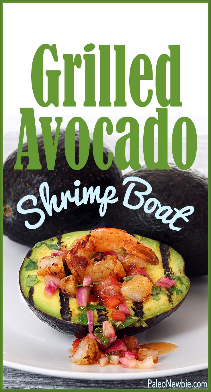 If you're firing up the grill for the Fourth, here's the perfect side dish…warm, creamy stuffed avocado with spicy shrimp and a zippy salsa. Simple and impressive!  #paleo #glutenfree