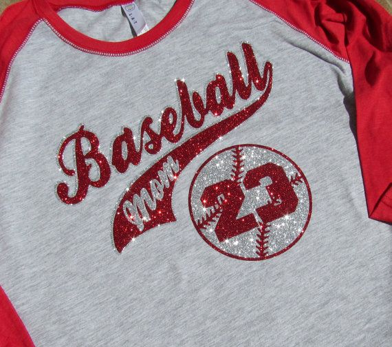 "Baseball Mom Shirt - 3/4 Sleeve Jersey Style with ""Baseball MOM"", Player Number & Choose Ladies fit, Unisex fit, Sleeve and Glitter Color"