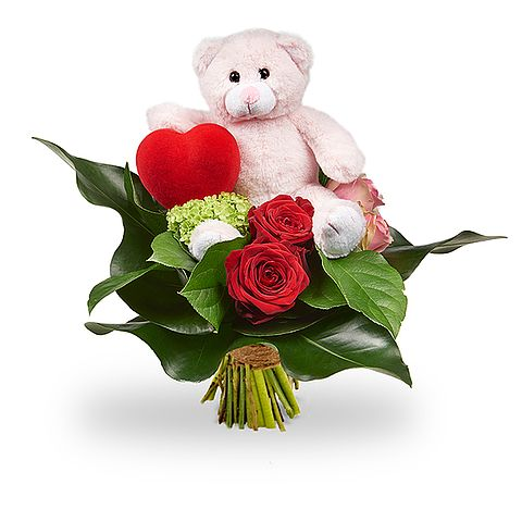 Romantic bouquet with teddy standard