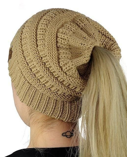 fafbbd92d3e3f Handmade Soft Knit Beanie for Ponytails   Buns