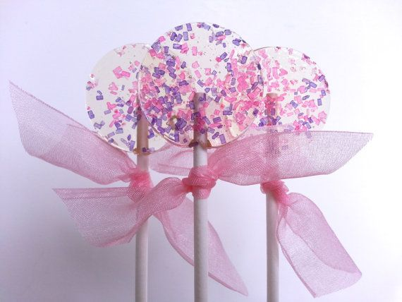 Pink and Purple Favors, Lollipops, Wedding Favors, Hard Candy Lollipops, Candy, Lollipops, Sweet Caroline Confections-SIX LOLLIPOPS