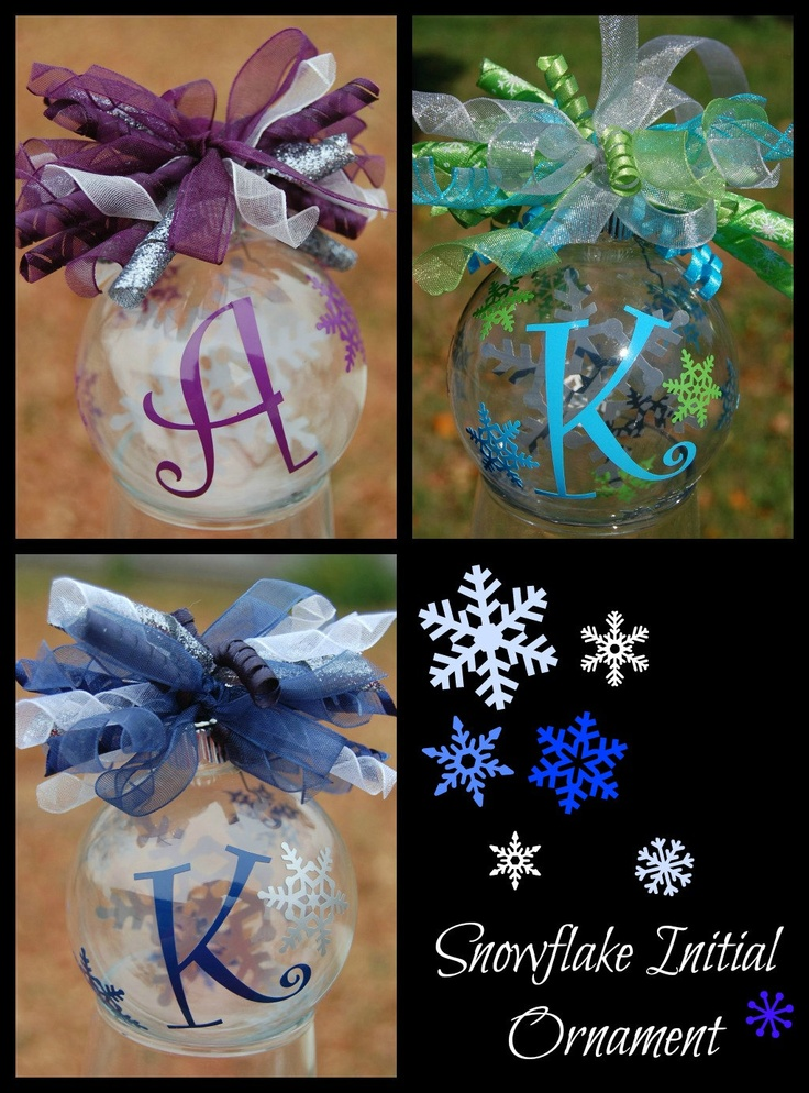 Floating Snowflake Initial Christmas Ornament - Small. $8.00, via Etsy - Super Cute Gift Idea