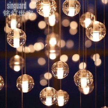 moderne korte led kristal glazen bol regen druppel hanglampen opknoping draad licht luxe decoratie thuiswedstrijd verlichting kerst(China (Mainland))