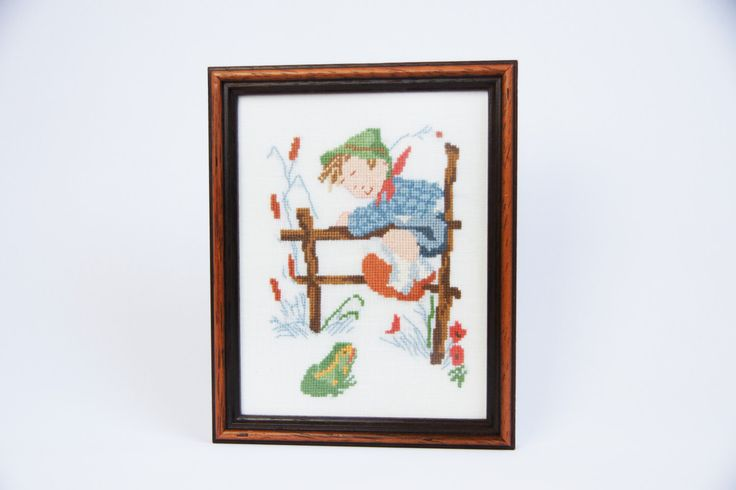 Vintage Hummel boy needlepoint in wooden frame, hummel and frog, nursery decor, vintage framed embroidery, beige background by JoorVintageTreasures on Etsy
