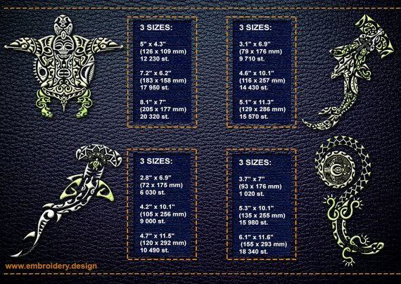 Polynesian Tattoo Fauna embroidery designs pack 1 by EmbroSoft