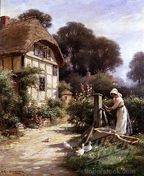 Drawing Water By A Cottage 1917 William Kay Blacklock British C Fine Art Photographic Library