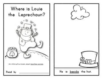 Where is Louie the Leprechaun? INTERACTIVE Reader/Book on Position Words! FUN FOR STUDENTS! $